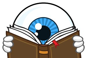 Blue Eyeball Guy Reading A Book