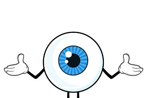 Blue Eyeball Guy Character Shrugging