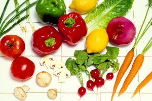 Vegetables on White Tile