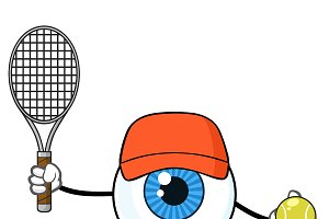 Eyeball Guy Holding A Tennis Ball