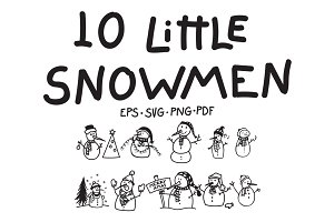 10 Little Snowmen Vectors