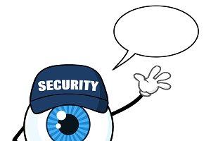 Blue Eyeball With Speech Bubble