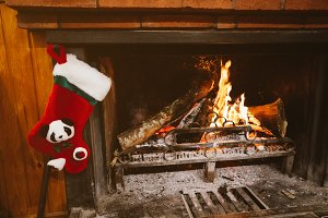 Christmas sock in the fireplace