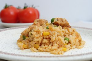 Homemade risotto with corn