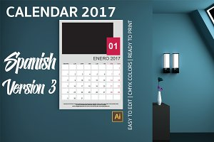 Spanish Wall Calendar 2017 Version 3