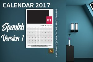 Spanish Wall Calendar 2017 Version 1