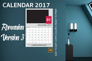 Romania Wall Calendar 2017 Version 3