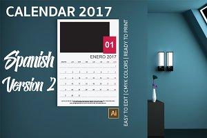 Spanish Wall Calendar 2017 Version 2