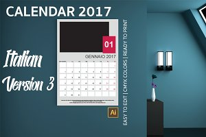Italian Wall Calendar 2017 Version 3