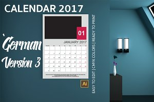 German Wall Calendar 2017 Version 3