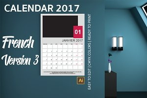 French Wall Calendar 2017 Version 3