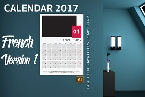 French Wall Calendar 2017 Version 1