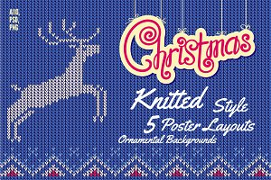 5 Christmas Knitted Style Posters