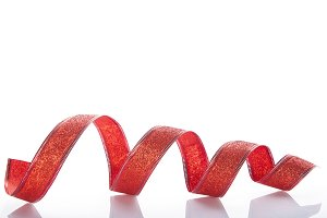 Christmas red ribbon isolated