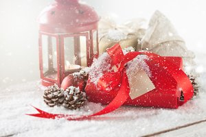 Christmas concept with gift, candle