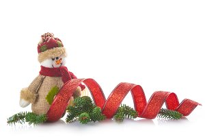 Snowman of burlap and Christmas ornaments