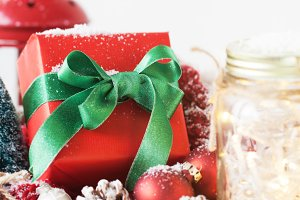 Christmas concept with classic gift