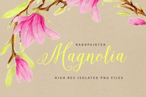 Magnolia Watercolor Flowers