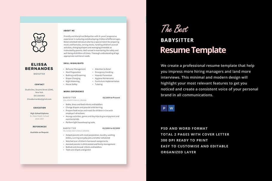 Babysitter Resume Template Templates Creative Market