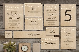 Brown Wedding Invitation Suite
