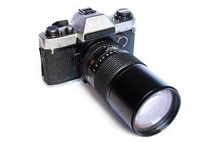 Retro film camera isolated on white
