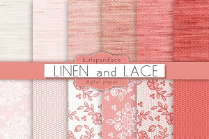Linen and lace coral red
