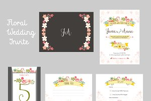 Whimsical Floral Wedding Invite Pack