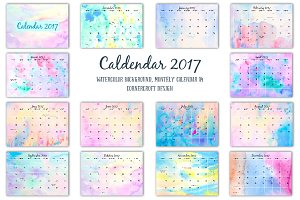 Calendar 2017 Watercolor Texture