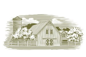 Woodcut Rustic Barn