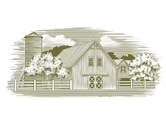 Woodcut Rustic Barn