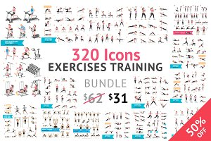 Fitness Aerobic and Exercises Icons.