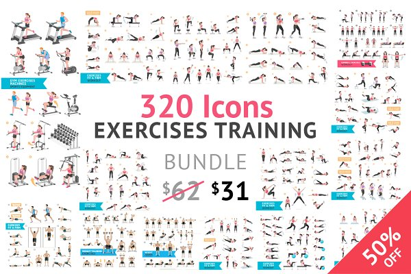 Fitness Aerobic and Exercises Icons…