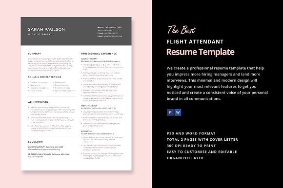 flight attendant resume template resumes - Flight Attendant Resume Template