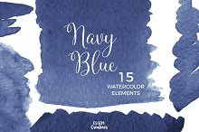 Navy Blue Watercolor Splash Clipart