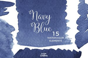 Navy Blue Watercolor Splash Clipart