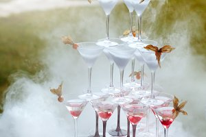 Rows of Champagne Glasses