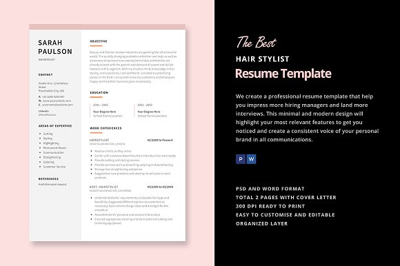 hair stylist resume template resume templates on creative market. Black Bedroom Furniture Sets. Home Design Ideas