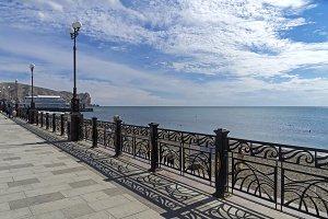 Sea view from the promenade. Crimea.