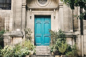 Old Blue Door Step with Stairs