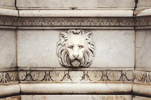 Ancient Marble Lion Head