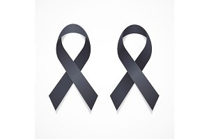 Black Ribbon Mourning Sign