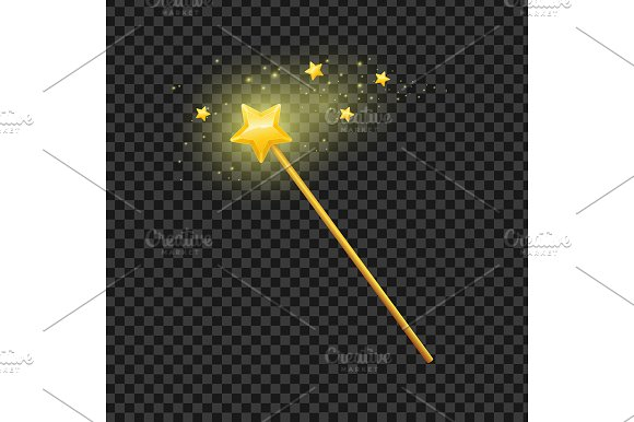 Golden Magic Wand with Star. Vector - Objects