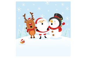 Santa With Reindeer and Snowman