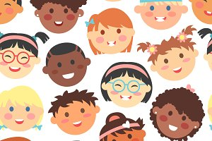 Kids faces vector seamless pattern