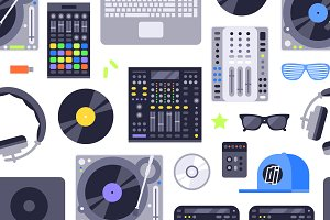 DJ music seamless pattern vector