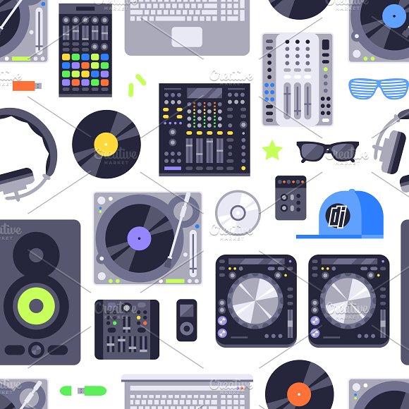DJ Music Seamless Pattern Vector