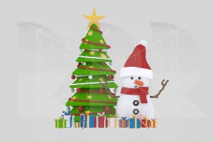3d illustration. Snowman Tree.