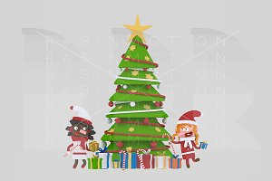 3d illustration. Xmas Tree kids.