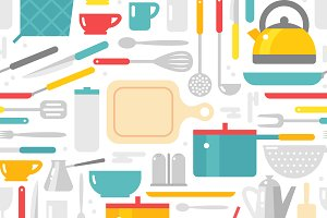 Kitchenware seamless pattern vector