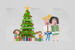 3d illustration. Family and Gifts.